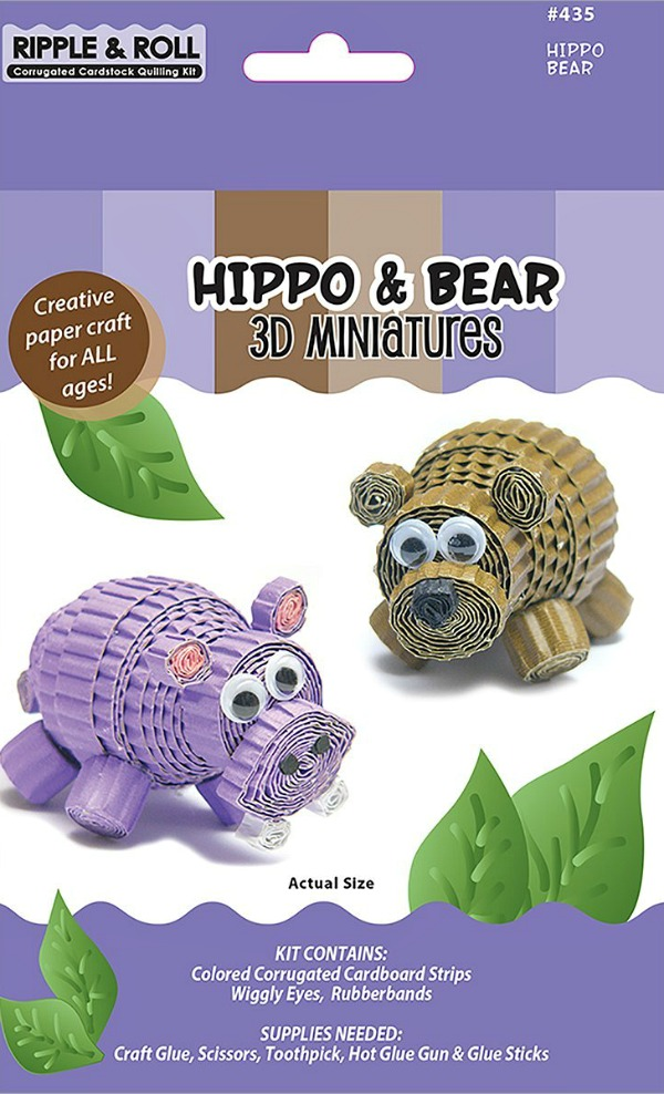 Hippo And Bear Quilled 3D Miniature Kit